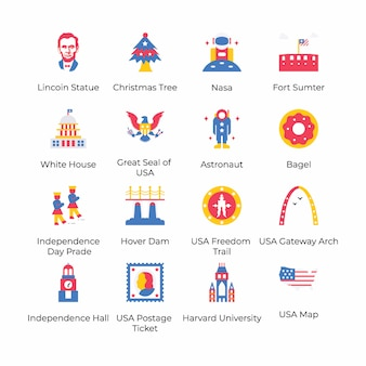 Here is a pack of 4th july flat icons, conceptualizing 4th july celebration by its eye catching visuals. grab it and use as per your project need.