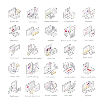 Here is a pack of data analysis isometric icons which presenting interface of data analysis. editable icons are here for your project needs.