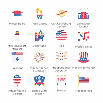 Here is a set of american independence day flat icons, conceptualizing 4th july celebration by its eye catching visuals. grab it and use as per your project need.