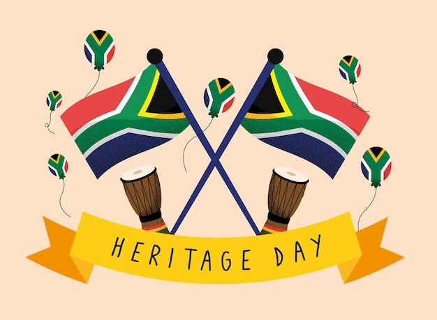 Heritage day banner with flags
