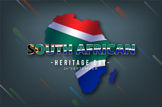 Heritage day south africa with map and flag