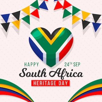 Heritage day with flags and heart