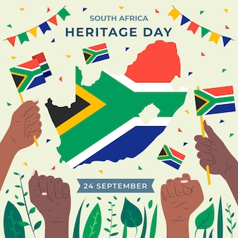 Heritage day with map and flag