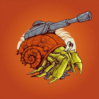 Hermit crab war machine illustration