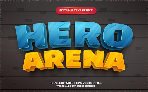 Hero arena editable text effect cartoon game title 3d template style