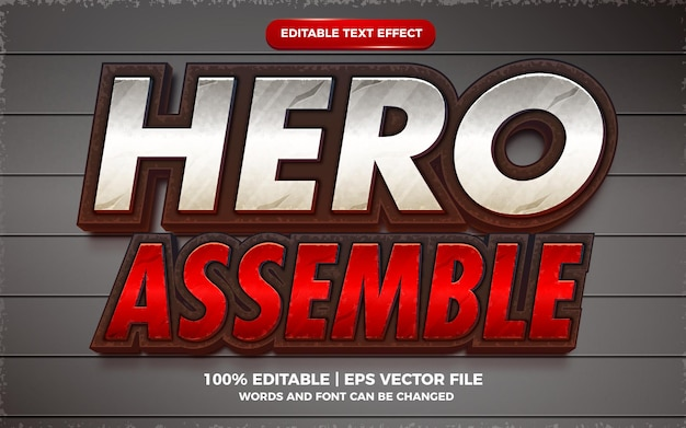 Hero assemble editable text effect cartoon game title 3d template style