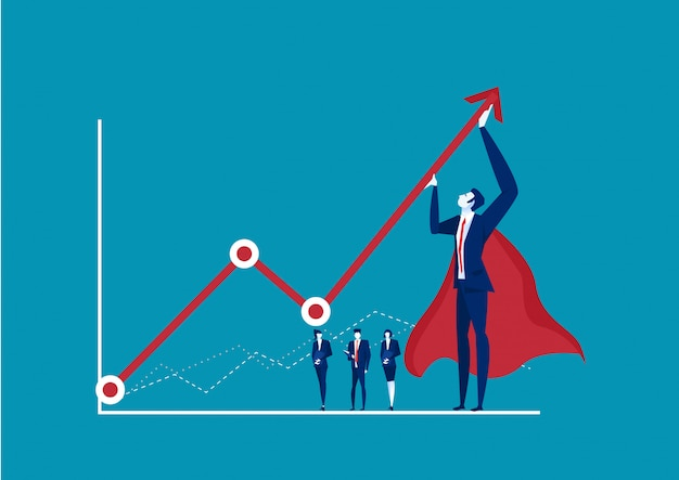 Hero businessman trying to bend a red statistic arrow upwards on blue background