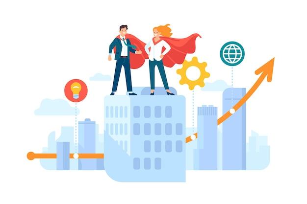 히어로 커플. 행복한 남자와 여자, 초고층 빌딩 지붕의 슈퍼히어로 의상, 성장하는 비즈니스 차트, 성공 기호