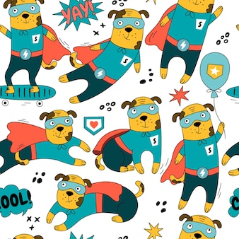 Hero dog character seamless pattern in different poses illustration