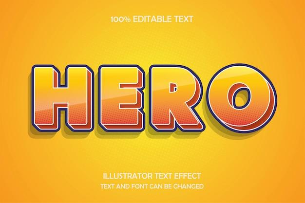 Герой, редактируемый текстовый эффект в современном стиле комиксов
