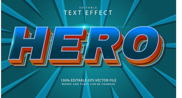Редактируемый текстовый эффект героя