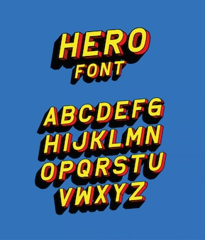 Hero font lettering with alphabet on blue background design, typography retro and comic theme