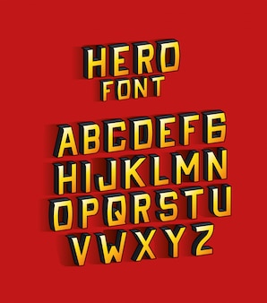 Hero font lettering with alphabet on red background design, typography retro and comic theme