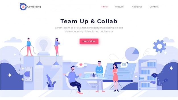 Hero header landing page team colaboration