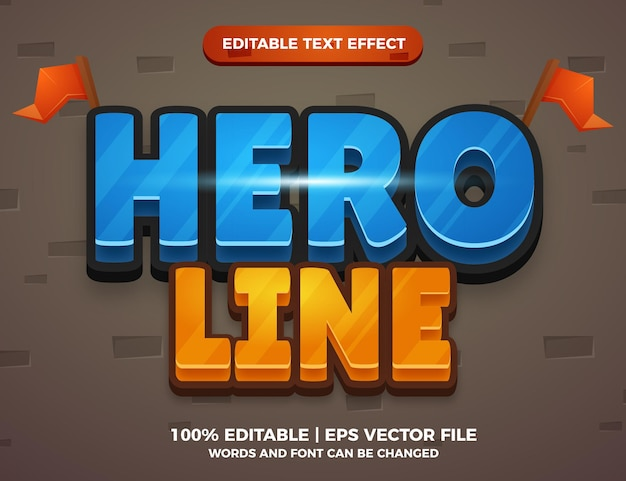Hero line cartoon game editable text effect style template