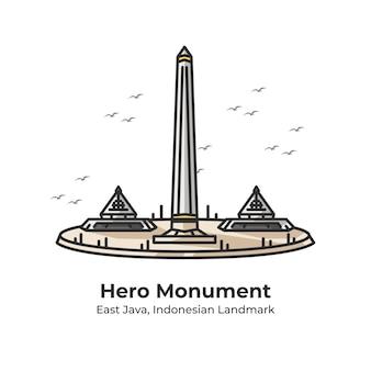 Hero monument indonesian landmark cute line illustration
