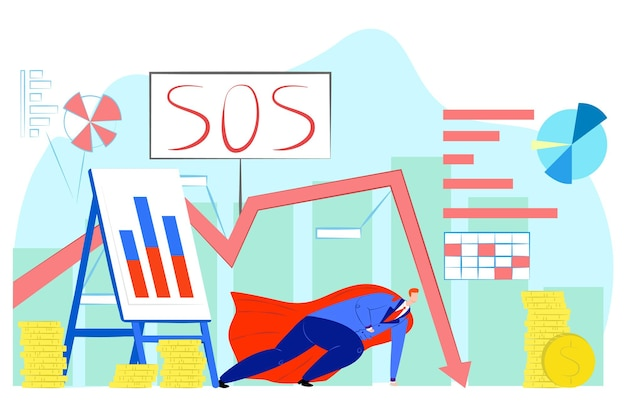 Hero near money, financial crisis, vector illustration. falling profit graph, sos sign for economic finance, investment, wealth. business man