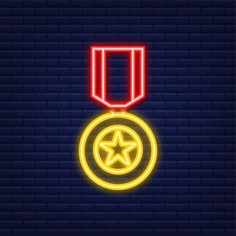 소련의 영웅 금성상. 네온 아이콘입니다. 모션 그래픽.