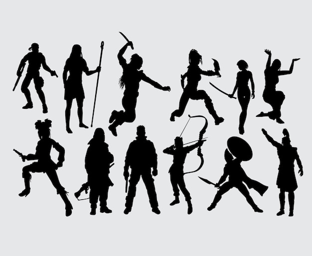 Hero people with weapon male and female silhouette