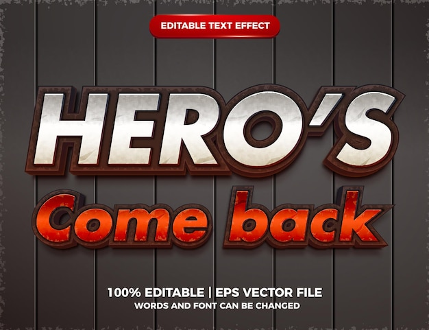 Hero's come back editable text effect cartoon action game style