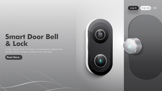 Hero shot with smart doorbell and lock button