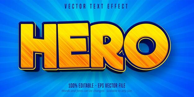 Текст героя, редактируемый текстовый эффект в мультяшном стиле