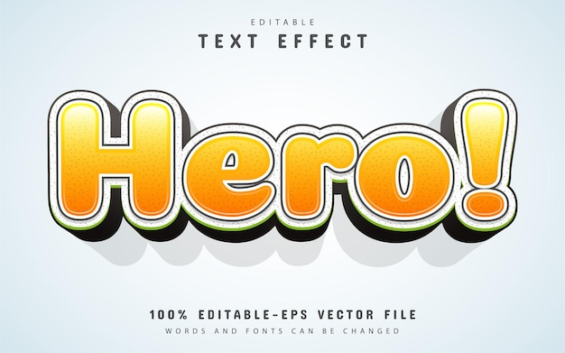 Hero text, cartoon style text effect