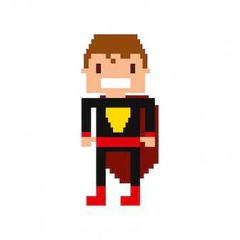 Hero video game pixelated character