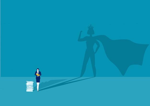Мать героя женщина делает офисную работу и домашнюю работу в одиночку. супер мама