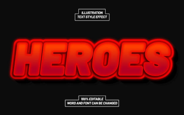 Heroes 3d bold text style effect