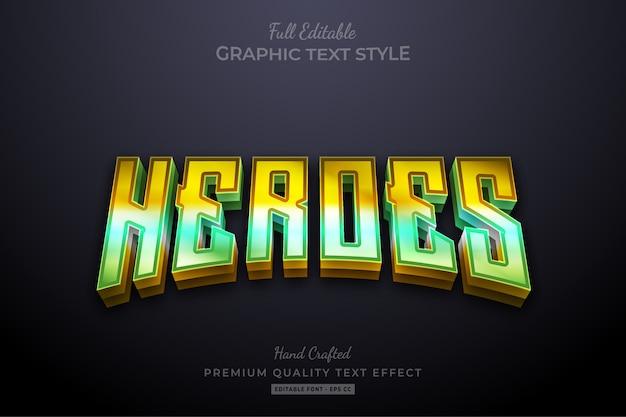 Редактируемый текстовый эффект премиум-класса с градиентом в heroes 80