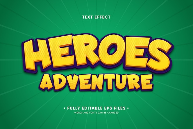 Heroes adventure text effect