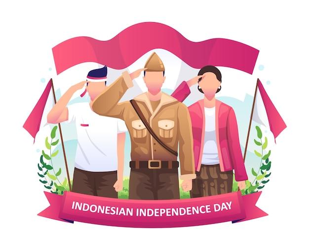 英雄と女性は、インドネシアの独立記念日のイラストを祝って旗に敬礼します