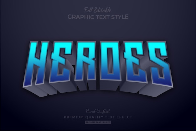 Heroes blue editable text effect font style