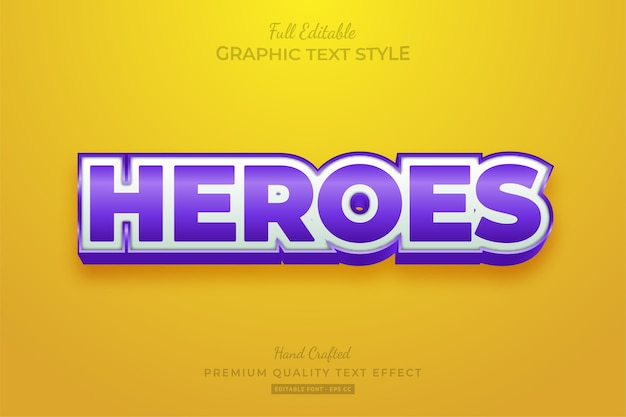 Heroes cartoon editable text style effect