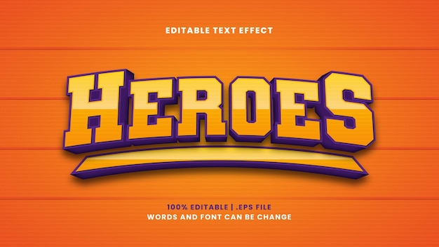 Heroes editable text effect in modern 3d style
