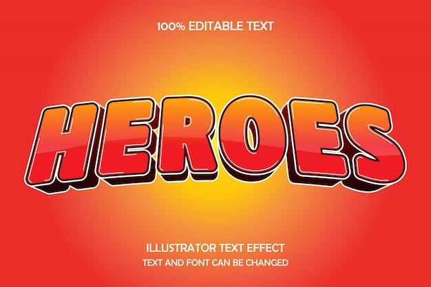 Герои, редактируемый текстовый эффект, современный рисунок в стиле комиксов