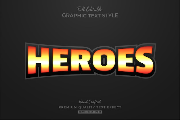 Heroes editable text style effect