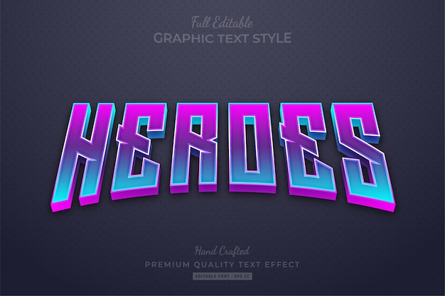 Heroes gradient movies editable text effect font style
