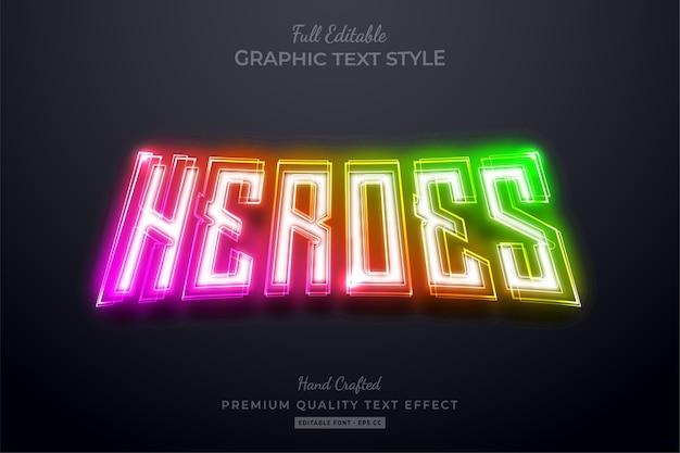 Редактируемый эффект стиля текста премиум-класса heroes gradient neon