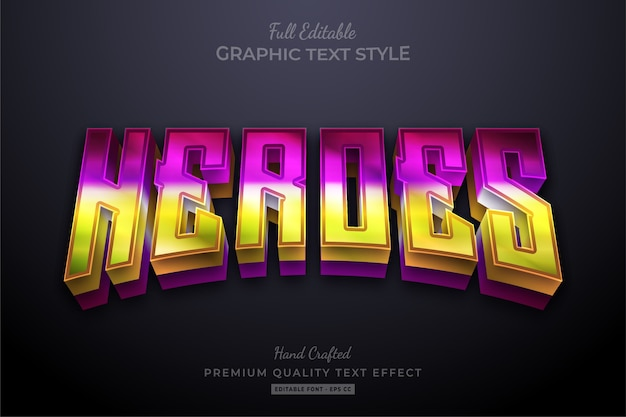 Heroes gradient vibrant editable text effect font style