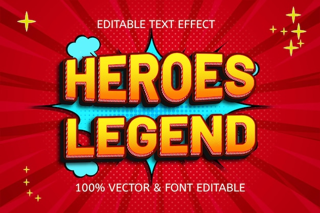 Heroes legend style comic editable text effect