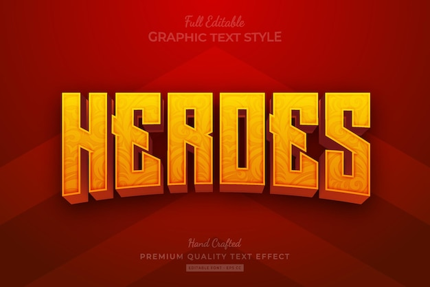 Heroes movie editable premium text effect font style