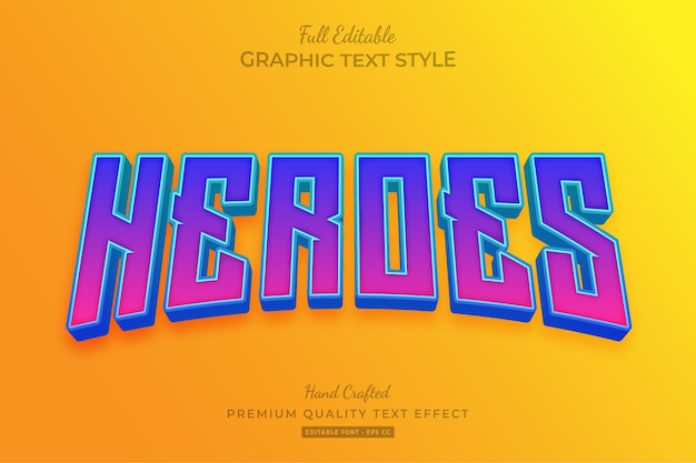 Heroes movie gradient editable text effect font style