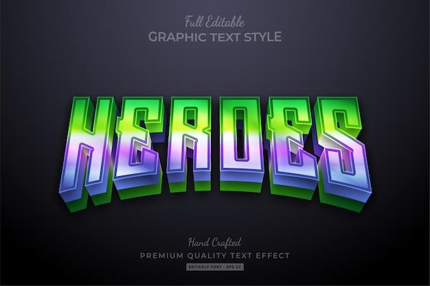 Редактируемый текстовый эффект с градиентом из фильма герои