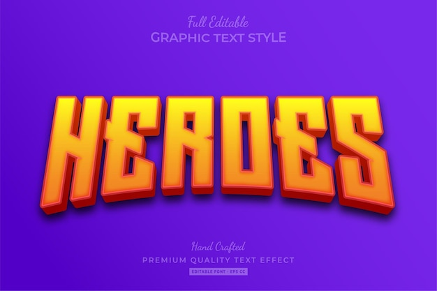 Heroes movie yellow editable text effect font style