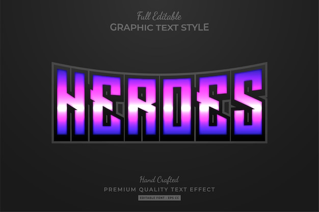 Heroes purple editable text style effect premium