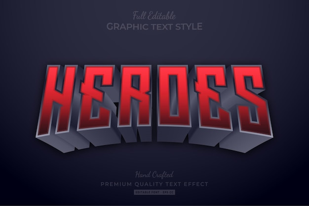 Heroes red editable text effect font style