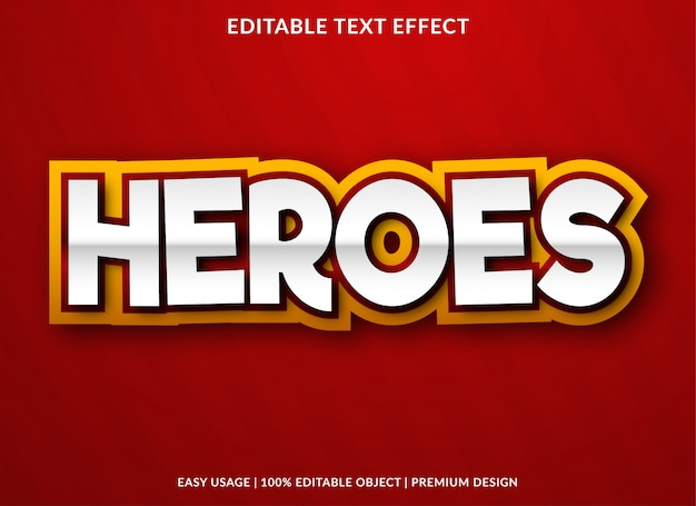 Heroes text effect template with bold style