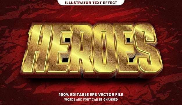 Heroes text, font gold style editable text effect
